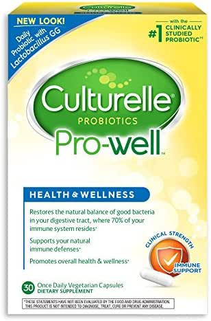 Culturelle Pro-Well Health & Wellness Daily Probiotic Dietary Supplement | Restores Natural Balance of Good Bacteria in Digestive Tract* | With the proven effective Probiotic | 30 Vegetarian Capsules
