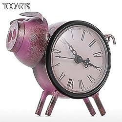 Tooarts Piggy Clock Handmade Vintage Metal Figurine Mute Table Clock Practical Clock One AA Battery Miniature Home Decor