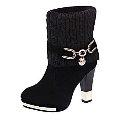 DENER❤ Women Ladies Ankle Boots with High Heels,Waterproof Wide Calf Winter Cowboy