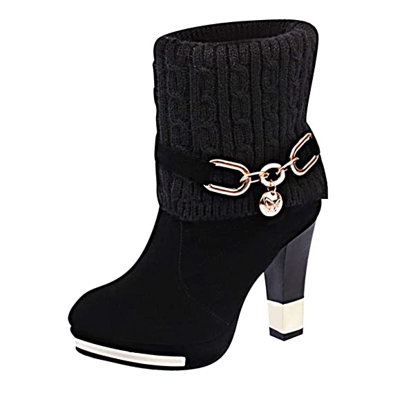Amazon.com: Fiaya Womens Winter Warm Crochet Knitted Ankle Boots Sexy Chunky Heel Boots: Clothing