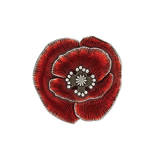 DANFORTH - Remembrance Poppy Brooch Pin - Red - 1 3/4 Inch - Pewter - Made in USA