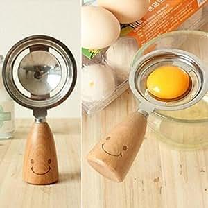 Stainless Steel Egg White Separator Divider Breakfast Tool Wooden Handle For Egg