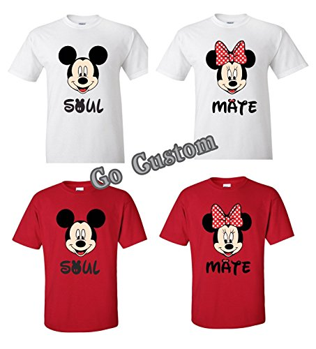 Minnie And Mickey Mouse Costumes For Couples - Soul MAte Mickey and Minnie Funny Couple Shirt (Red, XL Minnie)