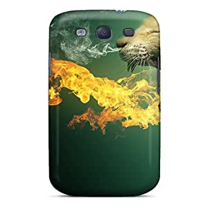 Durable Protector Case Cover With Cat In Fire Hot Design For Galaxy S3