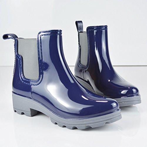 Women's Blue Garden Rain Rubber Waterproof Warm Booties Boots Shoes LvRao Snow HdqHZ7