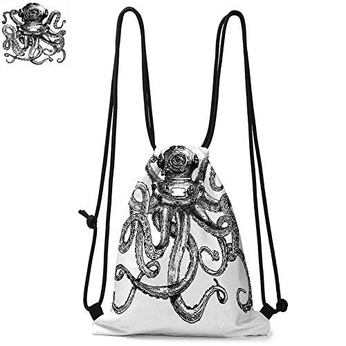 Octopus Portable drawstring backpack Vintage Style Diver Helmet with Marine Animal Tentacles Scuba Concept For the gym W17.3 x L13.4 Inch Charcoal Grey and White