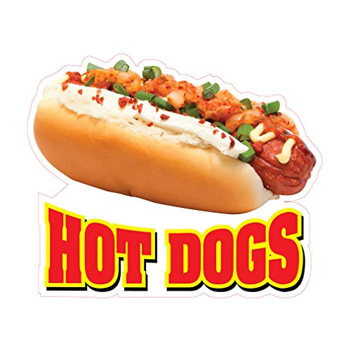 Die-Cut Sticker Multiple Sizes Hot Dogs Style AW Restaurant & Food Hot Dogs Indoor Decal Concession Sign red - 48in Longest Side
