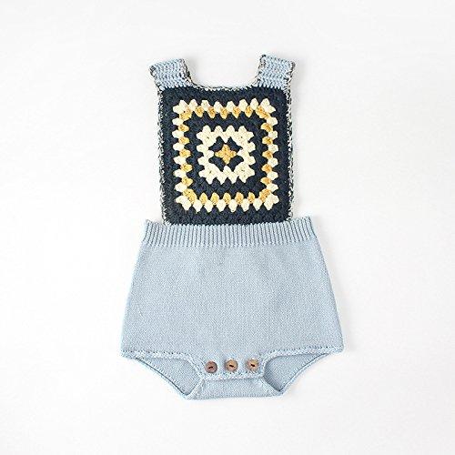 Pinleck Newborn Baby Girls Knit Strap Romper Geo Graphic Striped Jumpsuit Bodysuit by Pinleck (Image #3)