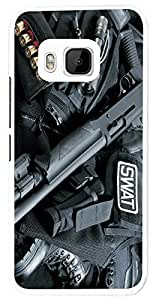 911 - Army equipment shot gun funky Design For htc One M7 Fashion Trend CASE Back COVER Plastic&Thin Metal - White