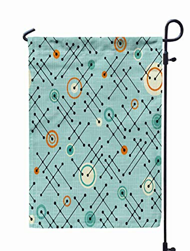 GROOTEY Welcome Outdoor Garden Flag Home Yard Decorative 12X18 Inches Retro Pattern Lines Circles Fabric Wrapping Paper Backgrounds Texture Overlay Linen Double Sided Seasonal Garden Flags