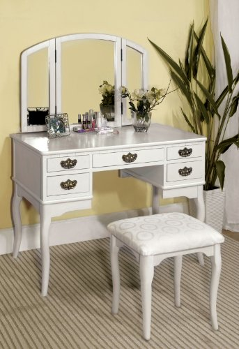 Furniture of America Matilda Chippendale Style Vanity and Stool Set, White (Patterned Wood Mirror)