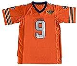 The Waterboy #9 Bobby Boucher Adam Sandler 50th Anniversary Movie Mud Dogs Bourbon Bowl Football Jersey (Orange, Medium)