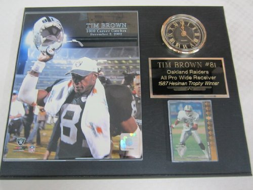 (Raiders Tim Brown Clock Plaque w/8x10 Photo and Card)