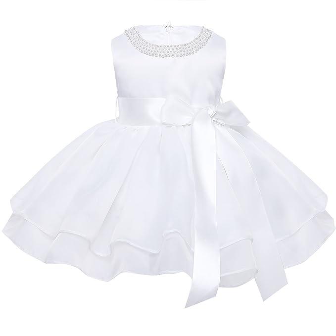 Iefiel Vestido Blanco De Bautizo Boda Fiesta Para Bebé Niña Vestido De Princesa Verano Traje Para Recién Nacido Bebe Tutu Con Perlas Organza 9 Meses