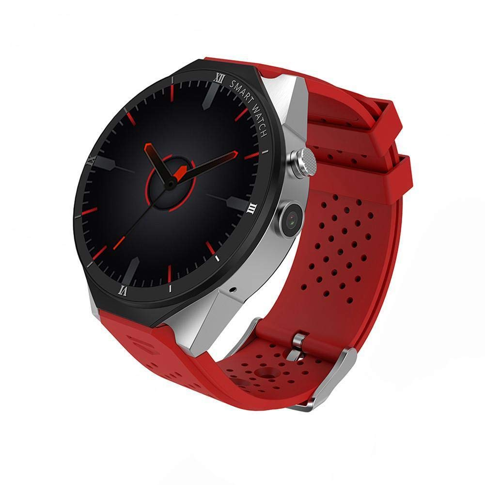 KW88 3G WiFi Smart Watch Cell Phone All-in-One Bluetooth Android SIM Card with GPS,Camera,Heart Rate Monitor,Google map (Red PRO)