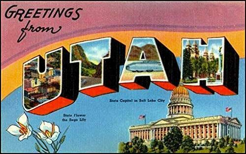 MAGNET 3x5 inch Vintage Greetings from Utah Sticker (Old Postcard Art Logo ut) Magnetic vinyl bumper sticker sticks to any metal fridge, car, signs