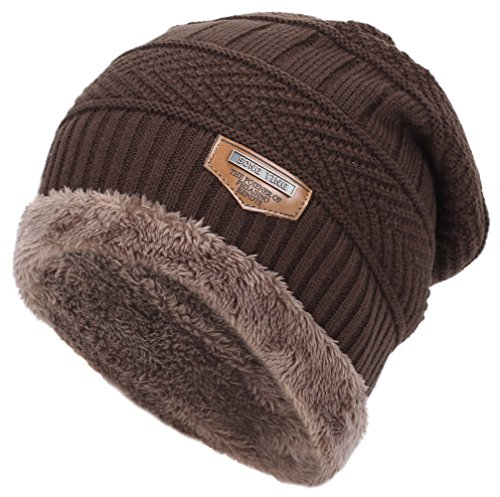 Classic Men's Thick Warm Winter Fleece Lining Knit Beanie Hat Baggy Oversize Slouchy Stocking Skull Cap Khakis Beanie Hat Cap For Men 6 colors(Brown)