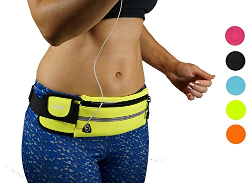 Dimok Running Belt Waist Pack - Water Resistant Runners Belt Fanny Pack for Hiking Fitness – Adjustable Running Pouch for All Kinds of Phones iPhone Android Windows (green)