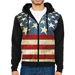 AWBDFKK Men's Sweaters American Flag Zip Up Hoodie Sweatshirt