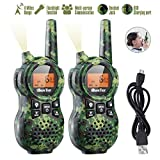 iBaseToy Walkie Talkies for Kids, Rechargeable Walkie Talkies with 22 Channels, 4-Miles Range Radio with Flashlight, LCD Screen and Charging line for Outdoor Adventures, Camping, Hiking - 2 Pack
