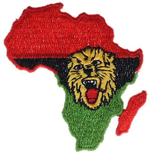 Africa Map Flag Colors & Lion Head 3