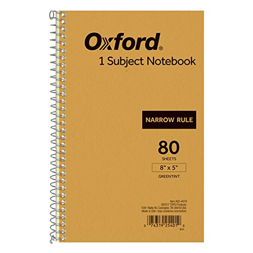 - Ampad Single Wire Notebook, 8 x 5, 1 Subject, Tan Cover, Narrow Ruled, Greentint, 80 Sheets Per Notebook (25-401)