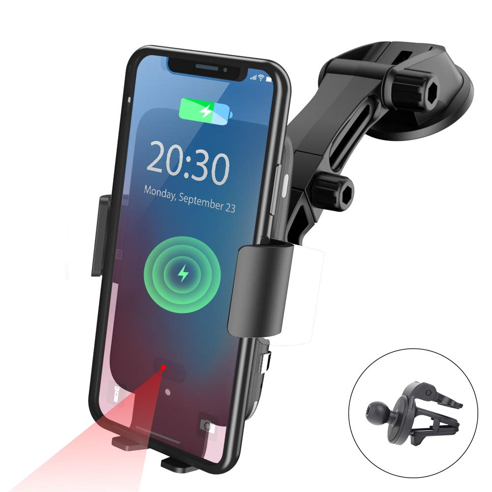 NPET Wireless Car Charger Mount, Qi 10W Fast Charging Automatic Clamping Windshield Phone Mount Dashboard Holder for Qi-Enabled Cell Phones iPhone 11/Xs/Max/XR/X, Samsung Galaxy Note 10/s10/9/ S9/ by NPET