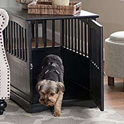 Dog Crate Kennel Cage Bed Night Stand End Table Wood Furniture Cave House Room Large size / Black.