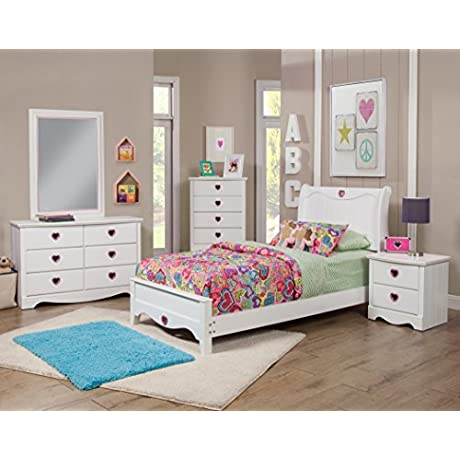 Sandberg Furniture Sparkling Hearts Bedroom Set Twin Frost White