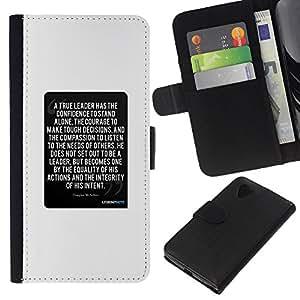 KingStore / Leather Etui en cuir / LG Nexus 5 D820 D821 / Texte blanc citation inspirante