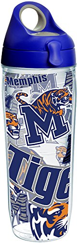 - Tervis 1252063 Memphis Tigers All Over Insulated Tumbler with Wrap and Blue with Gray Lid 24oz Water Bottle Clear