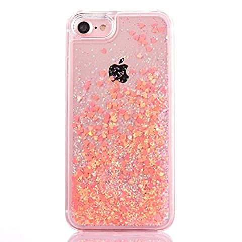 iPhone 7 case, Myckuu Liquid, Cool Quicksand Moving Stars Bling Glitter Floating Dynamic Flowing Case Liquid Cover for Iphone 7 (orange - Glistening Heart