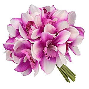 Easin Bridal Bouquets Artificial Flowers Real Touch Orchid Bouquet Wedding for DIY Centerpieces Party 9