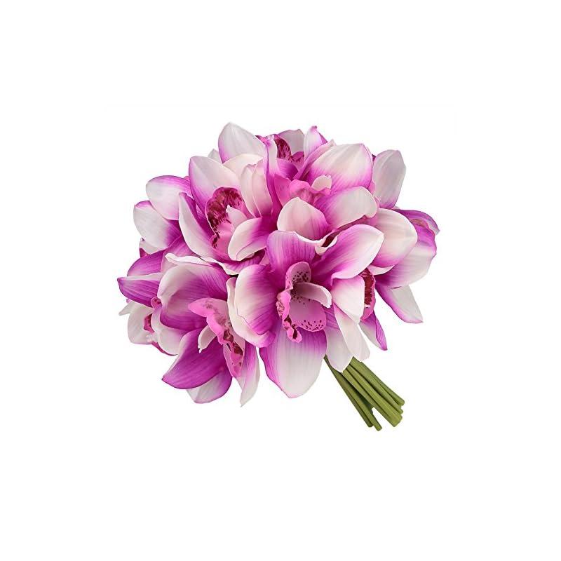silk flower arrangements easin bridal bouquets artificial flowers real touch orchid bouquet wedding for diy centerpieces party ... (fushia)