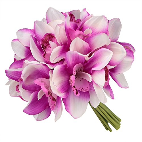 Easin Bridal Bouquets Artificial Flowers Real Touch Orchid Bouquet Wedding for DIY Centerpieces Party (Orchid Wedding Bouquet)