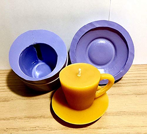 3D Silicone cappuccino cup saucer Mold pillar candle soap molds resin plaster ()