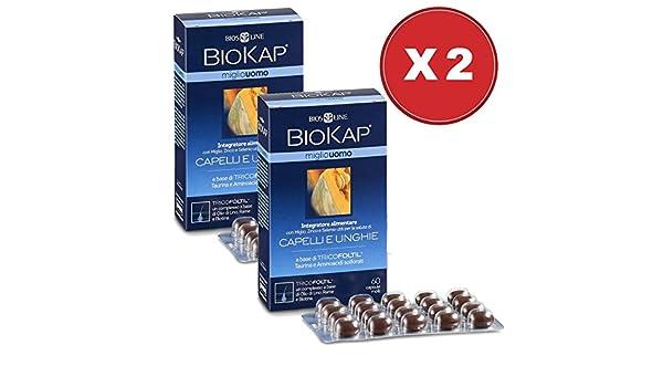 Tratamiento de mantenimiento BIOKAP Anticaída Hombre Color 1 BIOKAP 12 ampollas Anticaída + 1 Miglio Suplemento Hombre 60 caps + 1 champú anticaída ...