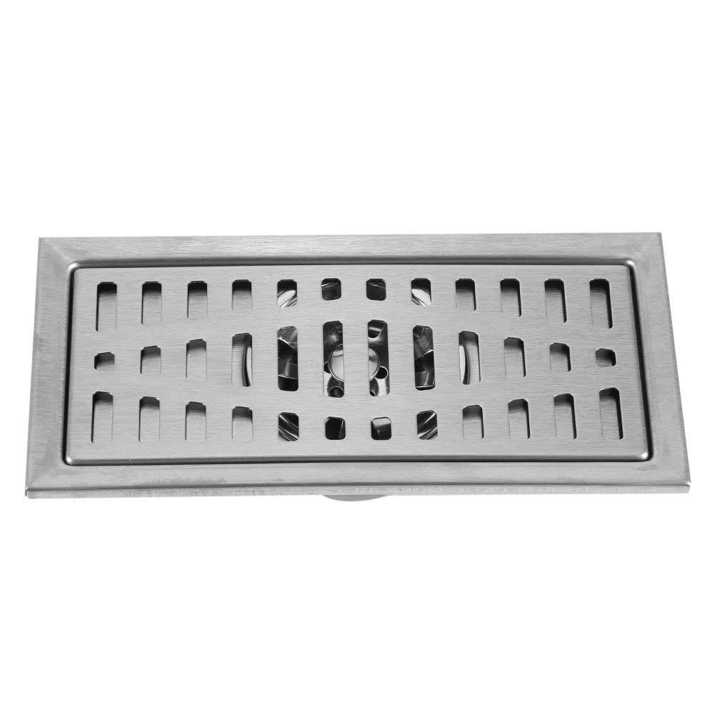 20x10cm Scarico Rettangolare Piletta Doccia a Pavimento Scarico a Pavimento in Acciaio Inox con filtro Rimovibile per Bagno Doccia Cucina