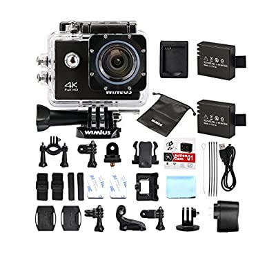 4K Sports Action Camera Wifi Ultra HD 1080P 60fps 16MP 2.0 inch Waterproof Video Camera Car Helmet Camcorder with 2pcs Batteries(Q1) from WiMiUS®