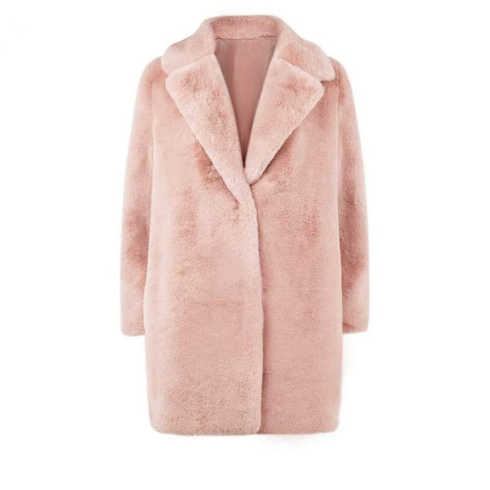 Cinnamou_mujer Abrigo de Chaqueta de Frente Abierto Ropa de Abrigos Casual Blusa Outwear Cardigans para Invierno Cálido Chaquetas de Piel Sintética: ...