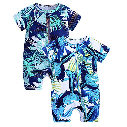 Kids Tales Summer Baby Boy Short Sleeve Pineapple Pajamas Cartoon Zipper Romper