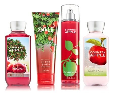 Bath & Body Works COUNTRY APPLE Deluxe Gift Set - Body Lotion - Body Cream - Fragrance Mist & Shower Gel Full - Body Wash Deluxe