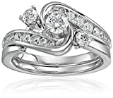 IGI Certified 14k White Gold Diamond Interlocking Bypass Bridal Wedding Ring Set (1 cttw, H-I Color, I1-I2 Clarity), Size 8