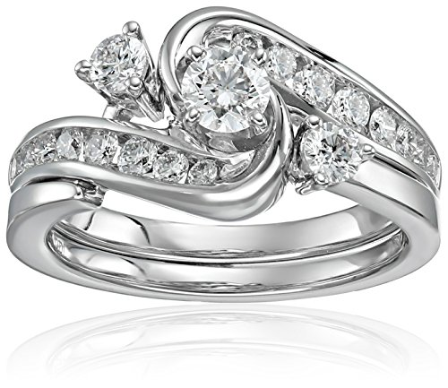 IGI Certified 14k White Gold Diamond Interlocking Bypass Bridal Wedding Ring Set (1 cttw, H-I Color, I1-I2 Clarity), Size 7 14k White Gold Diamond Interlocking