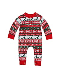 Christmas Newborn Baby Girl Boy Long Sleeve Bear Romper Pajamas Set Nightwear Outfits