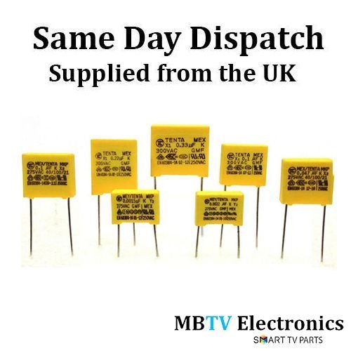 2 x 0.47uF 275 VAC 470 nF Mex/Tenta MKP X2 condensadores de seguridad 40/100/21 –  Pack de 2 MBTV Electronics 0.47-MEX-40/100/21-5