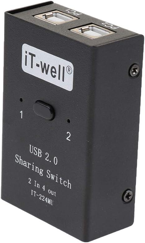 USB 2.0 Interruptor de Intercambio Manual Kvm 2 Entrada 4 Salida ...