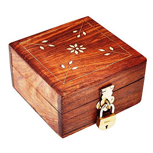 Treasure Chest Keys (Great Birthday Gift Ideas Handmade Decorative Wooden Jewelry Box With Free Lock & Key Jewelry Organizer Keepsake Box Treasure Chest Trinket Holder Lock Box Watch Box 4 x 4 Inch Anniversary Gifts Her)