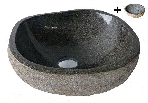 Exotica-import. Vasque lavabo à poser en pierre naturelle 35cm + 1 porte savon. Choix sur photos.