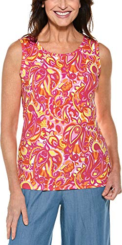 (Coolibar UPF 50+ Women's Everyday Basic Tank - Sun Protective (2X- Pink Vintage Paisley))